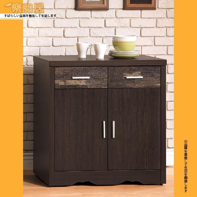 【樂和居】古拉德仿古風黑檀2.7尺碗盤櫃