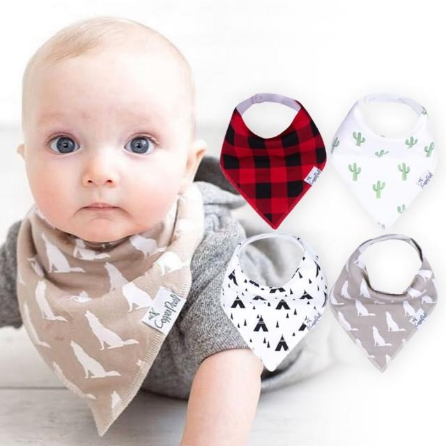【美國 Copper Pearl】雙面領巾造型圍兜口水巾4件組 - 紅格紋仙人掌 ZACP5G9UP(快速到貨)