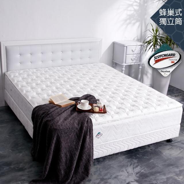 【亞珈珞】3M防潑水正三線蜂巢式獨立筒床墊(雙人5X6.2尺)