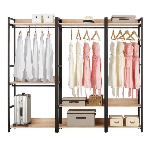【Bernice】裴拉7.3尺開放式組合衣櫃(雙吊+單桿+2尺單桿)