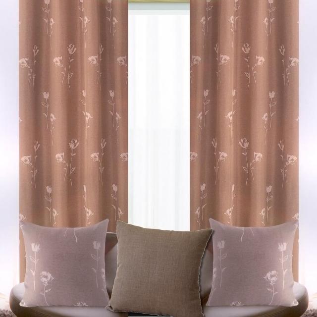【宜欣居傢飾】花仙子-米黃-棕-半腰-雙面緹花遮光窗簾(YX10601)