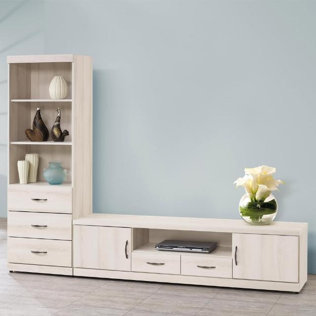 【H&D】白栓木系列8尺L型櫃(電視櫃)