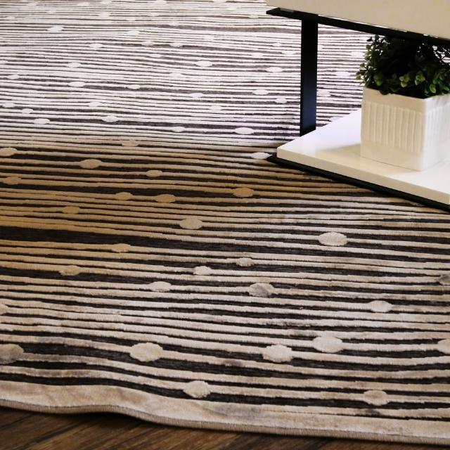 【范登伯格】卡斯☆頂級立體雕花絲質地毯-條紋(150x230cm)