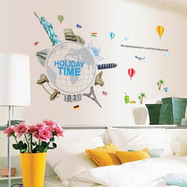 【半島良品】DIY無痕創意牆貼壁貼-環遊全世界_AY9187(無痕壁貼 牆貼 壁貼紙 創意璧貼)