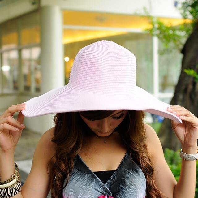 【Lady c.c.】韓國氣質素色大帽沿草帽(粉)