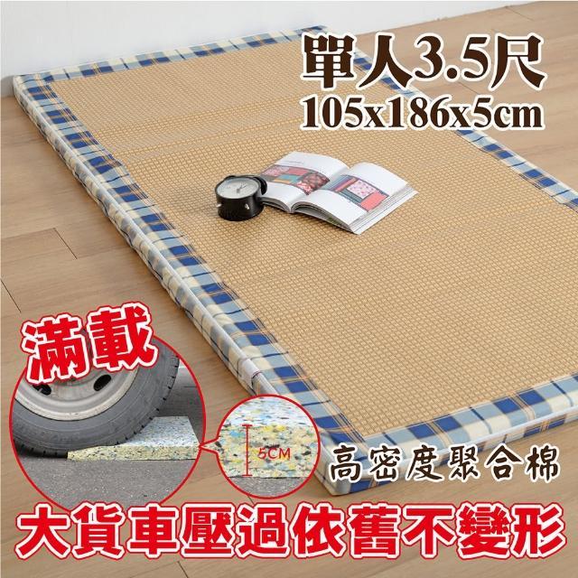 【Embrace英柏絲】藍格紋紙纖耐壓聚合床墊 全開式拉鍊 學生-員工宿舍 和室床墊-偏硬床(單人3.5尺)