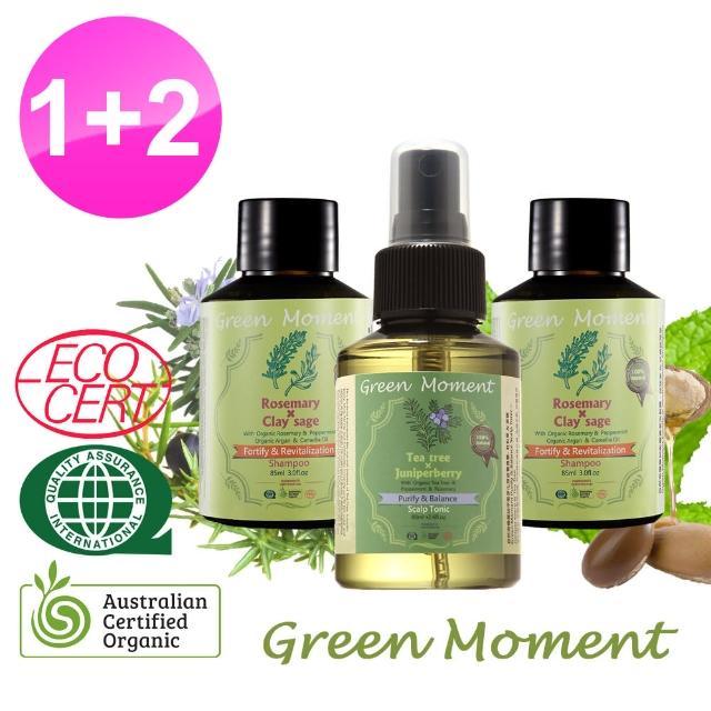 【Green Moment 自然奇機】有機迷迭香健髮節- 茶樹杜松淨化頭皮養護露80m-1+洗髮露-迷迭香豐盈85ml-2