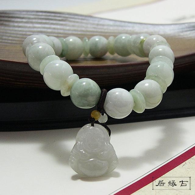 【古緣居_12H】天然美玉圓珠手鍊(招財彌勒)