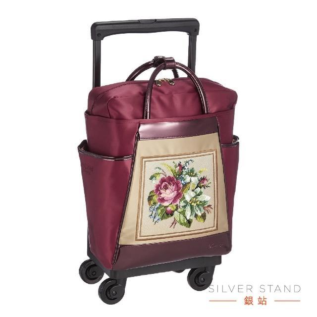 【銀站】日本SWANY 花絮華麗紅助行袋 。簡報。出差。購物。旅遊。(行李箱、購物車、拉桿旅行袋)