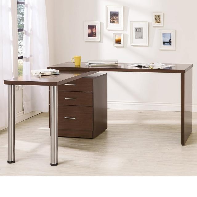 【Bernice】凱希4.9尺多功能旋轉書桌-工作桌-辦公桌(胡桃色)