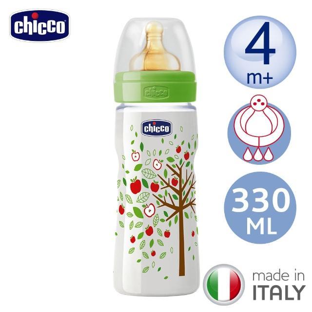 【chicco】舒適哺乳-自然田園乳膠PP特大奶瓶330ML-三孔4m+