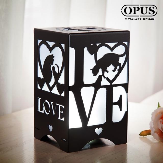 【OPUS 東齊金工】文創USB小夜燈 LED情境燈-金屬燈飾桌燈(NI-lo02B 愛戀貓語_經典黑)