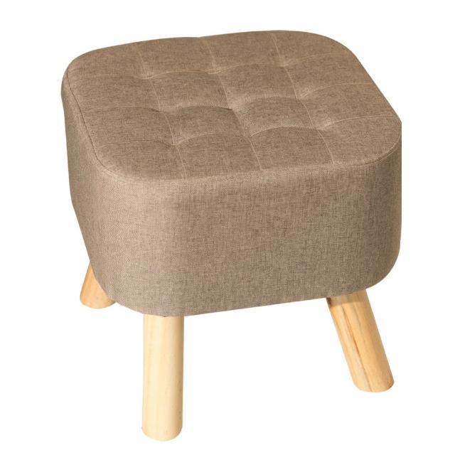 【Ashley House】大人款亞麻實木腳舒適椅凳(座墊厚度20cm-大SIZE)