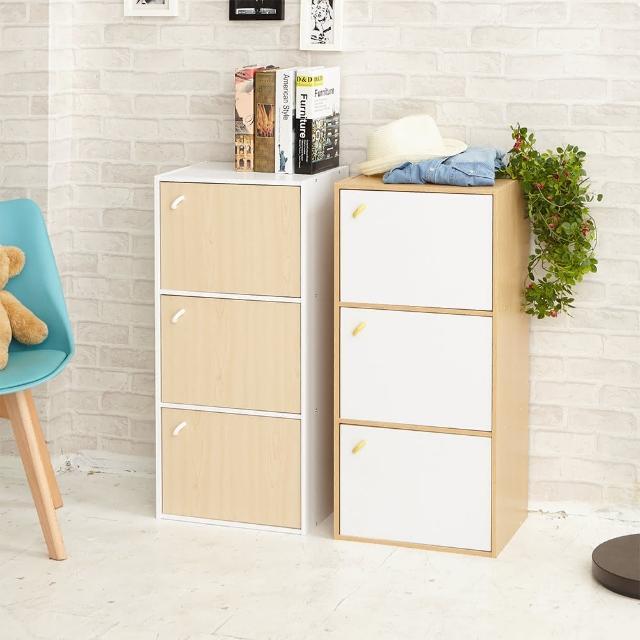 【ikloo】簡約木紋三門收納櫃-置物櫃