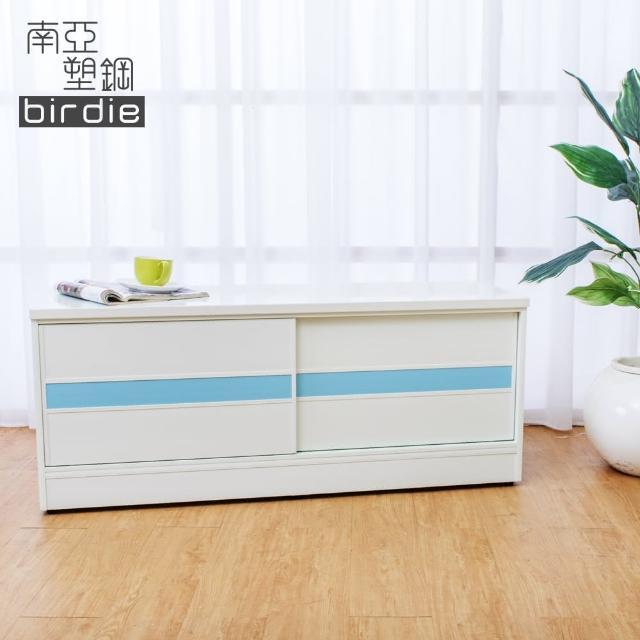【Birdie南亞塑鋼】4尺拉門-推門塑鋼坐式鞋櫃-穿鞋椅(白色+粉藍色)
