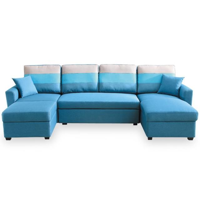 【時尚屋】丹尼絲藍色大L布沙發床組 MT7-323-5(免組裝 免運費 沙發床)