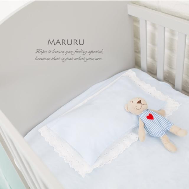 【MARURU】日本製嬰兒床單 嬰兒藍 70x130(日本製嬰兒寶寶baby床單-適用70x130嬰兒床墊)