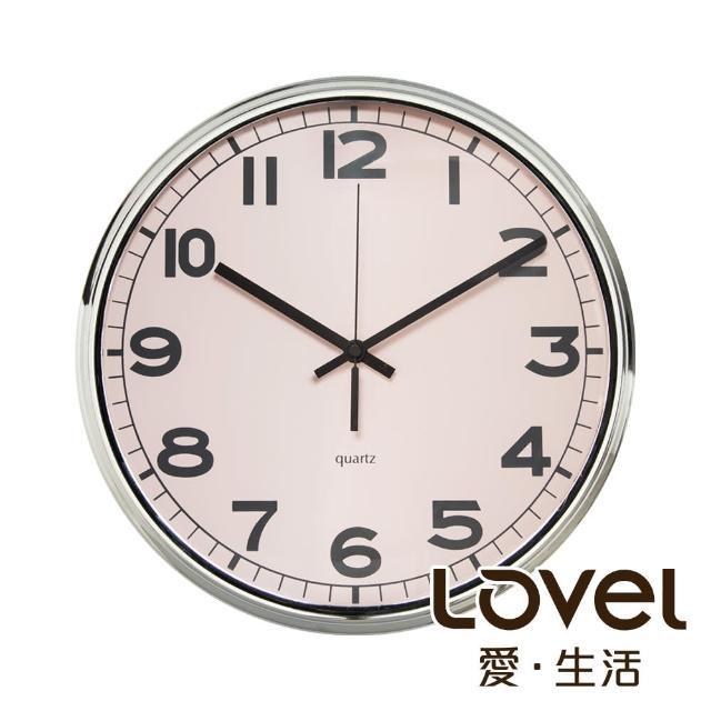 【LOVEL】31cm工業風鐵框魚眼鏡面靜音時鐘-粉(M7251N-PK)