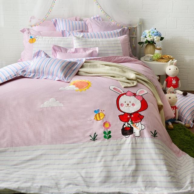 【Fancy Belle】雙人貼布繡防蹣抗菌吸濕排汗兩用被床包組(貝拉兔郊遊趣)