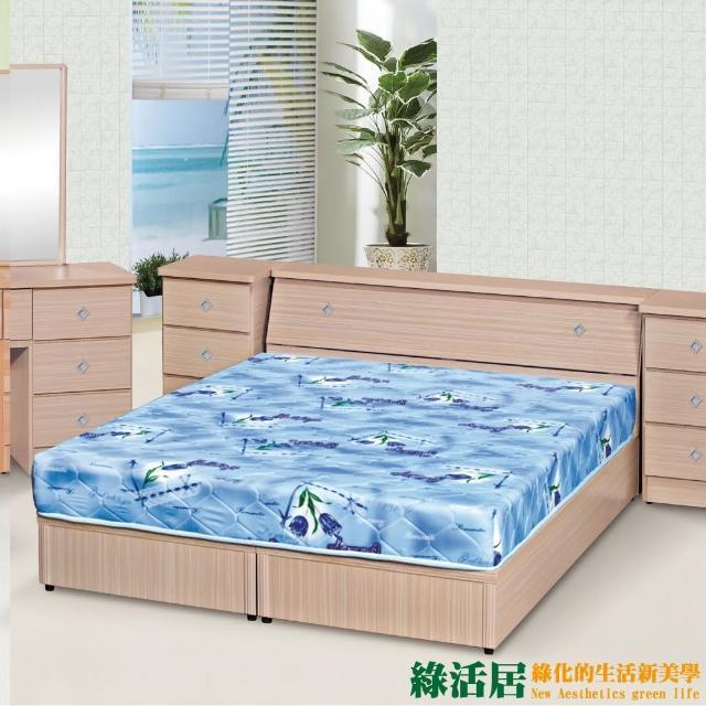 【綠活居】卡比  時尚6尺雙人加大床台組合(六色可選+床頭箱+三分木床底)