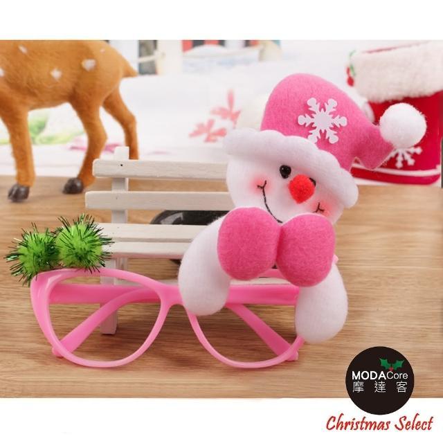 【摩達客】聖誕派對造型眼鏡(粉紅帽雪人)