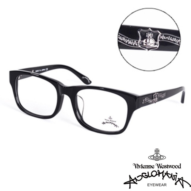 【Vivienne Westwood】ANGLO MANIA系列-英倫龐克徽章光學眼鏡(AN246-01-黑)