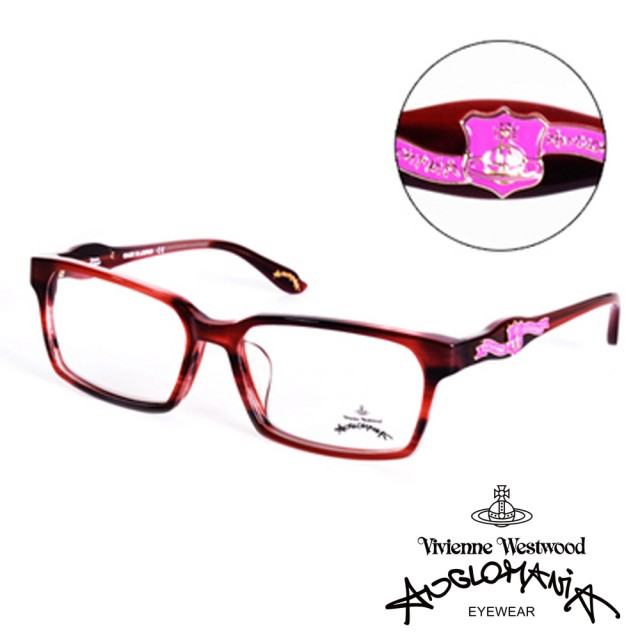 【Vivienne Westwood】ANGLO MANIA系列-英倫龐克徽章光學眼鏡(AN241-03-粉)