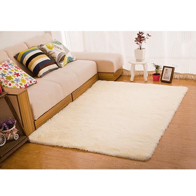 【幸福揚邑】舒壓長毛羊絲絨超軟防滑吸水地墊地毯-米黃(140x200cm)/