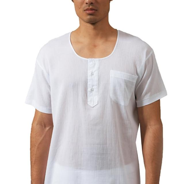【三槍牌】時尚型男縐縐布半門襟短袖衫(白