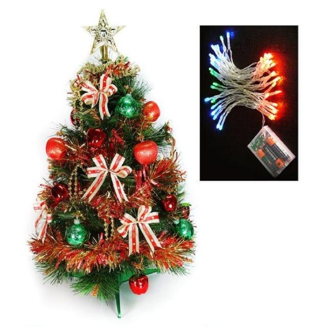 【摩達客】耶誕-2尺/2呎-60cm台灣製特級綠色松針葉聖誕樹(含紅金色系飾品組/含LED50燈彩光電池燈)/