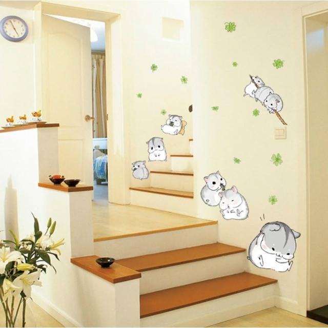 【半島良品】DIY無痕創意牆貼/壁貼-可愛小倉鼠-MJ7014(無痕壁貼