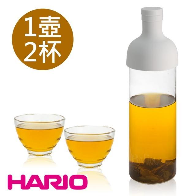 【HARIO】750ml酒瓶冷泡茶壺及雲吞耐熱杯組/