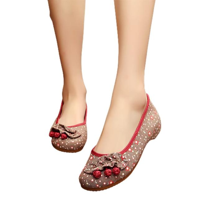 【Taroko】櫻桃花漾點點繡花圓頭淑女布質娃娃鞋(2色可選)/