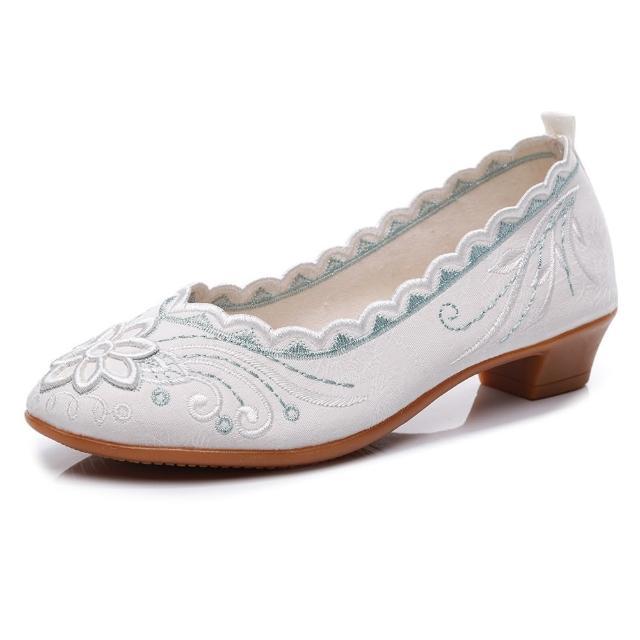 【Taroko】迷人蕾絲繡花中式淑女布質娃娃鞋(13色可選)/