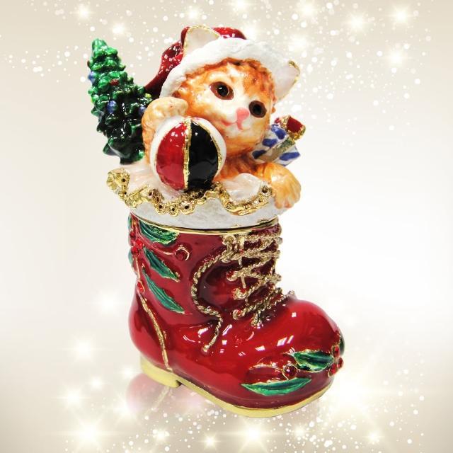 【三卡寶精品】歡樂聖誕節-貓與聖誕鞋晶鑽(珠寶盒)