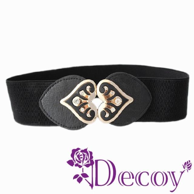 【Decoy】桃心花紋*水鑽彈性腰封/四色可選