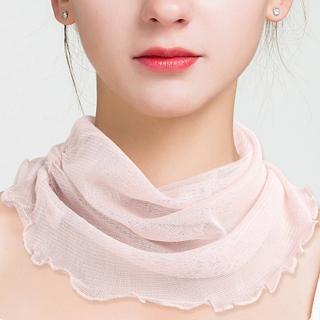 【JC Collection】蠶絲細柔百搭純色防曬遮陽脖套圍巾(銀灰、湖藍、米色)