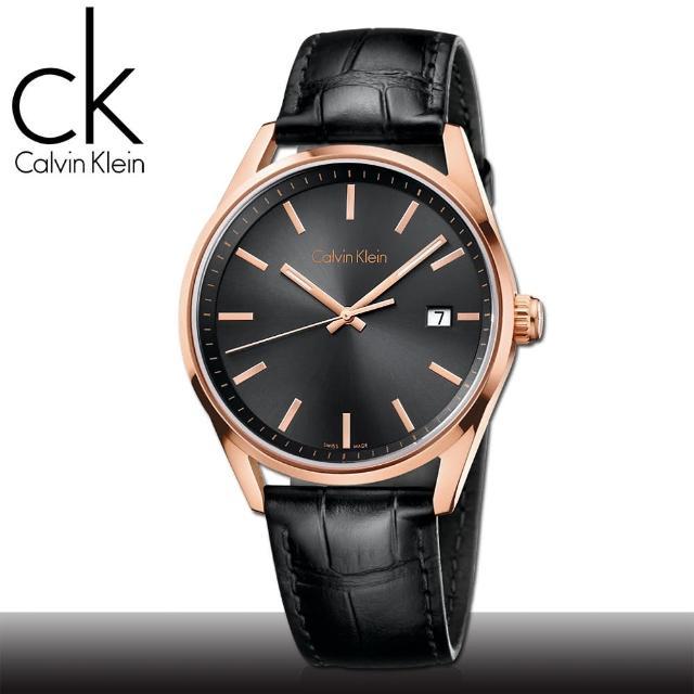 【瑞士 CK手錶 Calvin Klein】玫瑰金框_日期_強化玻璃_皮錶帶_紳士錶(K4M216C3)