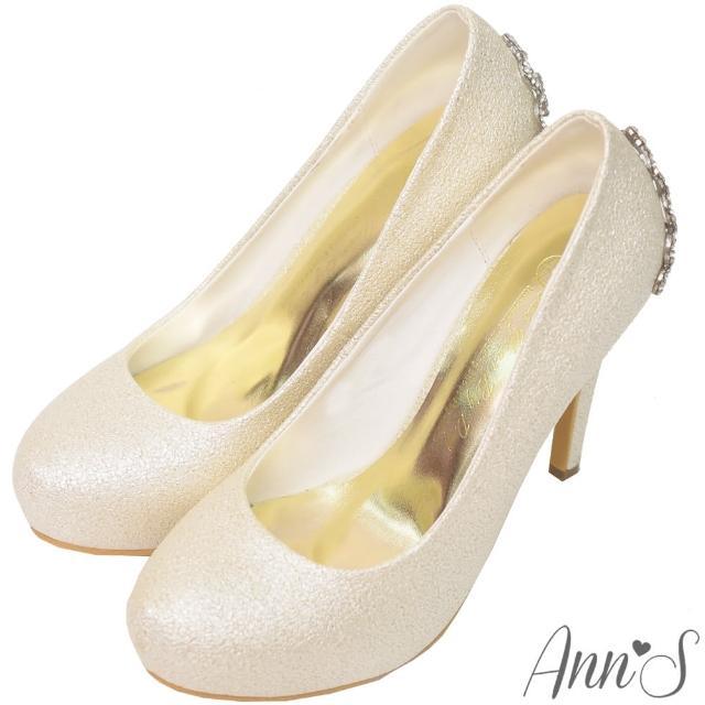 【Ann'S】公主的珠寶盒-水鑽皇冠防水台厚底高跟婚鞋(金)