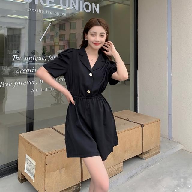 【Dorri】簡約時尚單品西裝領顯瘦連身褲S-XL