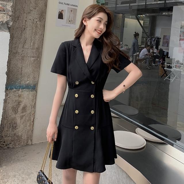 【Dorri】復古氣質雙排釦赫本風收腰連衣裙S-XL