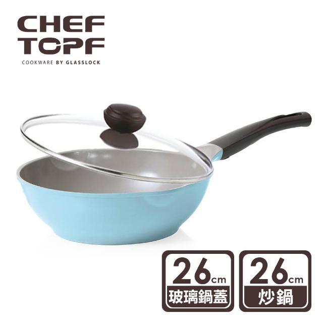 【韓國Chef Topf】La Rose薔薇玫瑰系列26公分不沾炒鍋(附玻璃蓋)