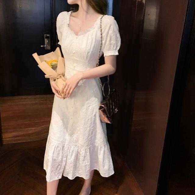 【Dorri】迷人純白風采木耳花邊領刺繡緹花洋裝S-L