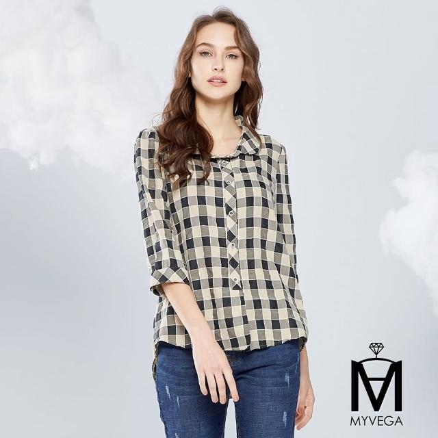 【MYVEGA 麥雪爾】MA特殊毛邊車線格紋襯衫-米
