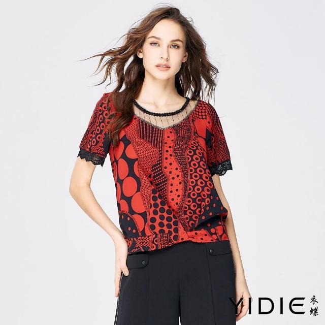 【YIDIE 衣蝶】黑紅點拼接蕾絲雪紡上衣-紅