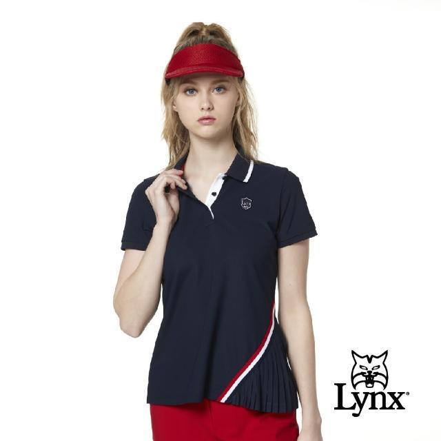 【Lynx Golf】korea 女款星星圖案配色領片短袖POLO衫(深藍色)