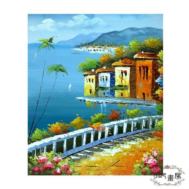 【御畫房】手繪無框油畫-美麗小鎮 50x60cm