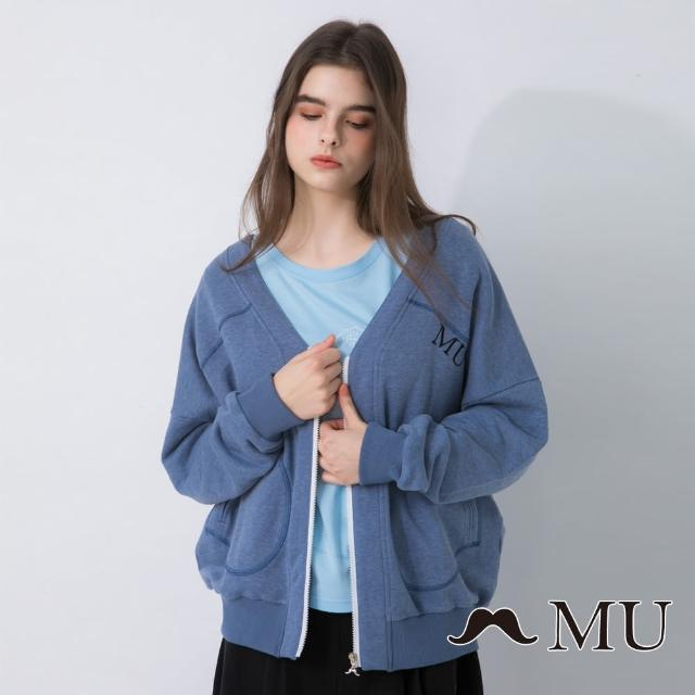 【maru.a】MU 精緻刺繡V領棒球外套(深藍)