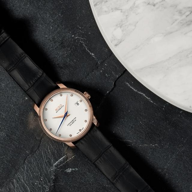 【MIDO 美度】Baroncelli 永恆系列天文台認證機械女錶-34mm(M0272083603600)