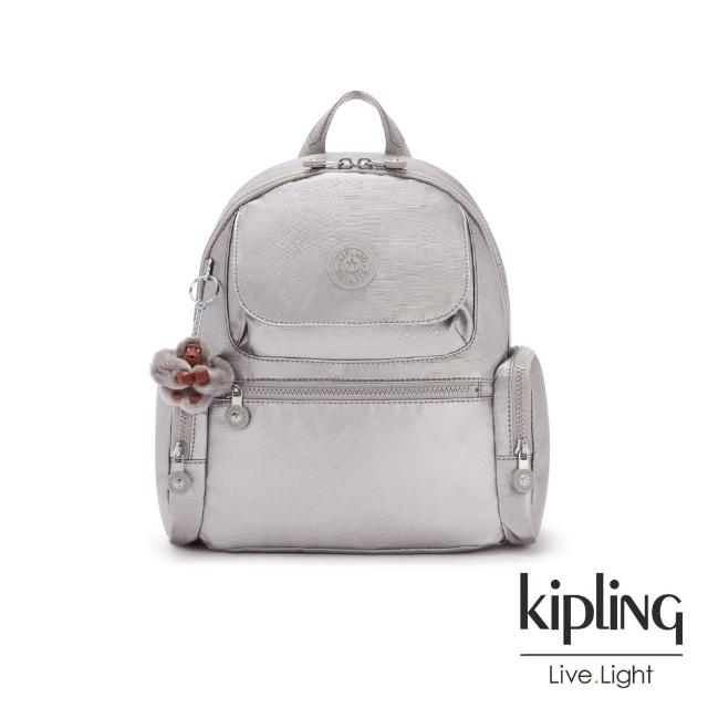 KIPLING【KIPLING】知性光澤銀灰多口袋拉鍊後背包-MATTA